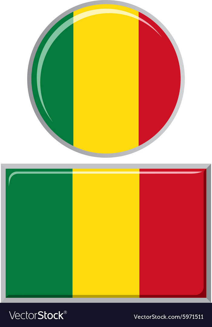 Malian round and square icon flag vector