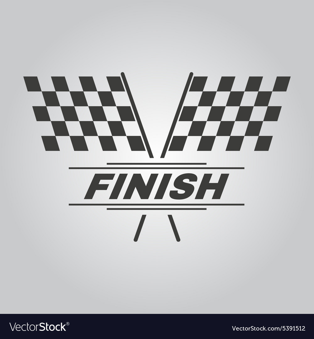 Race flag icon finish symbol flat vector