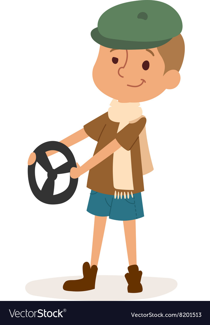 Driver boy with car rudder cute cartoon vector