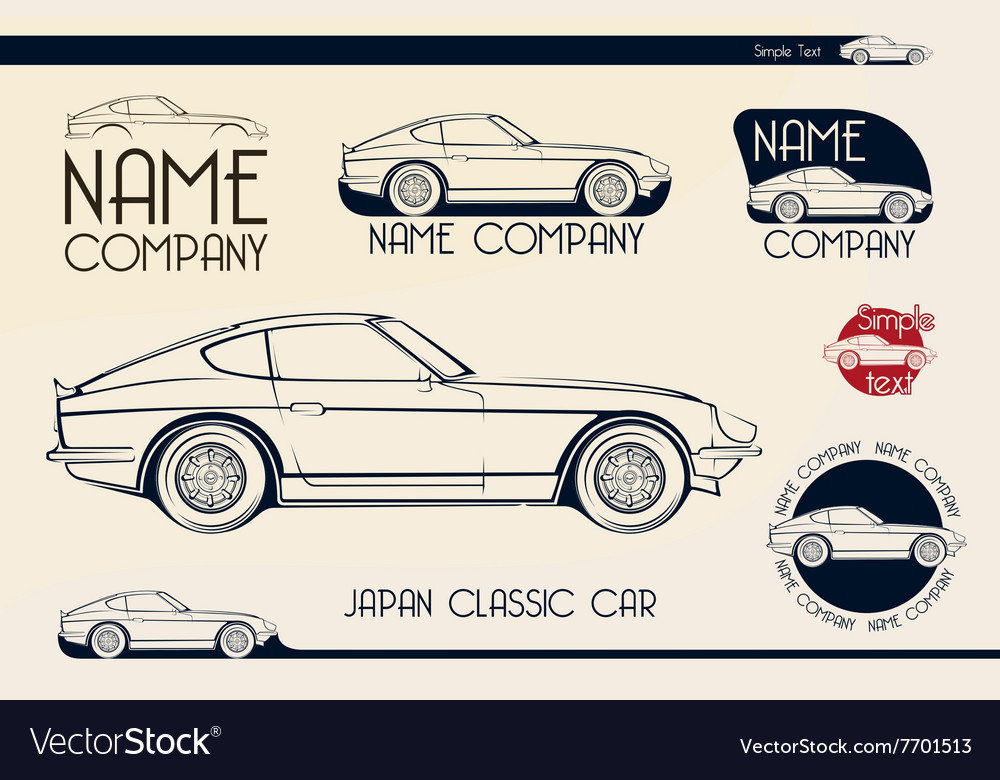 Japan classic sports car silhouettes vector