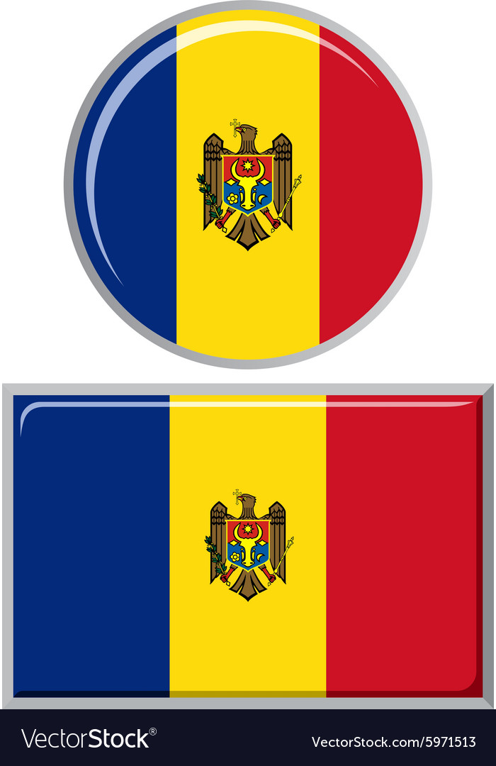 Moldovan round and square icon flag vector
