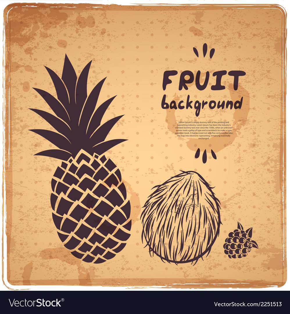Retro pineapple vector