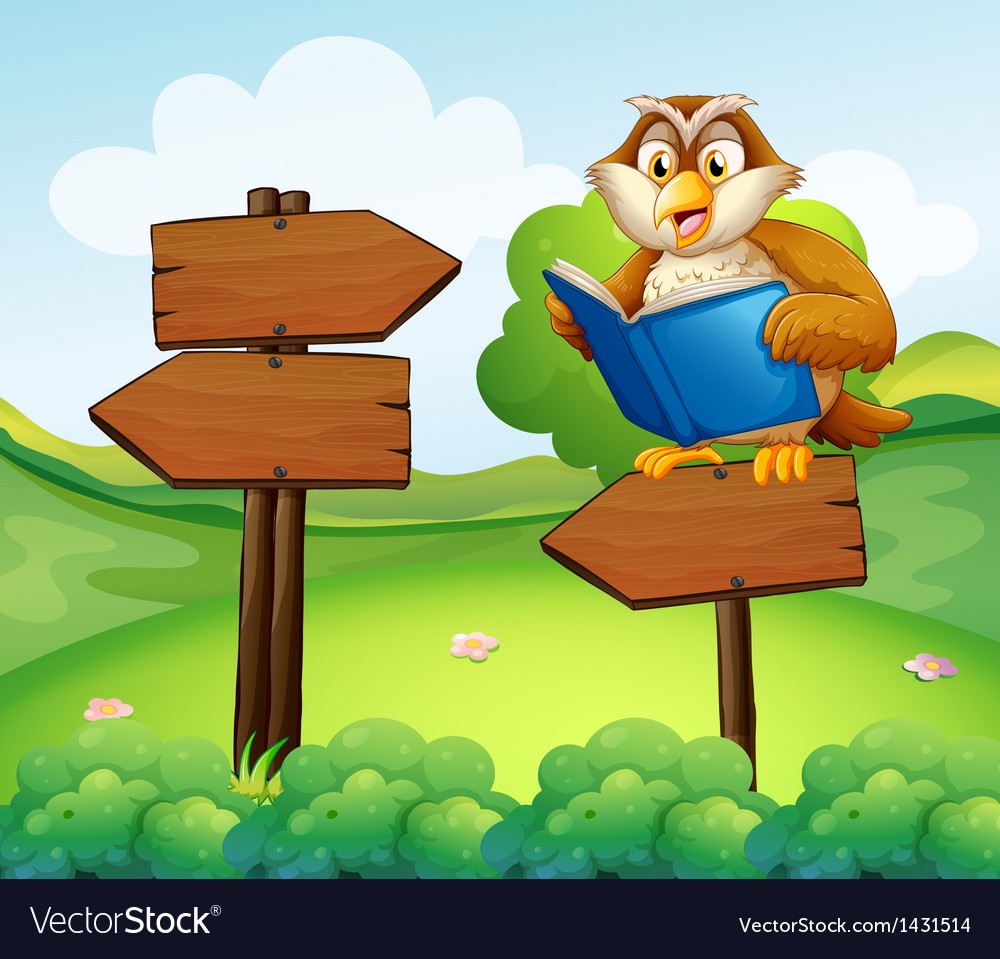 An owl reading above an empty arrow signboard vector