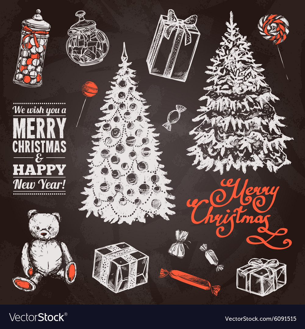 Chalkboard chrismas set vector