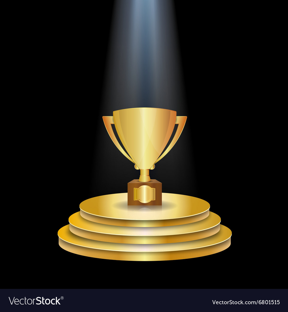 Gold podium with trophy cup vector
