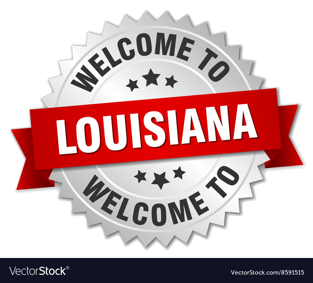 Louisiana 3d silver badge with red ribbon vector