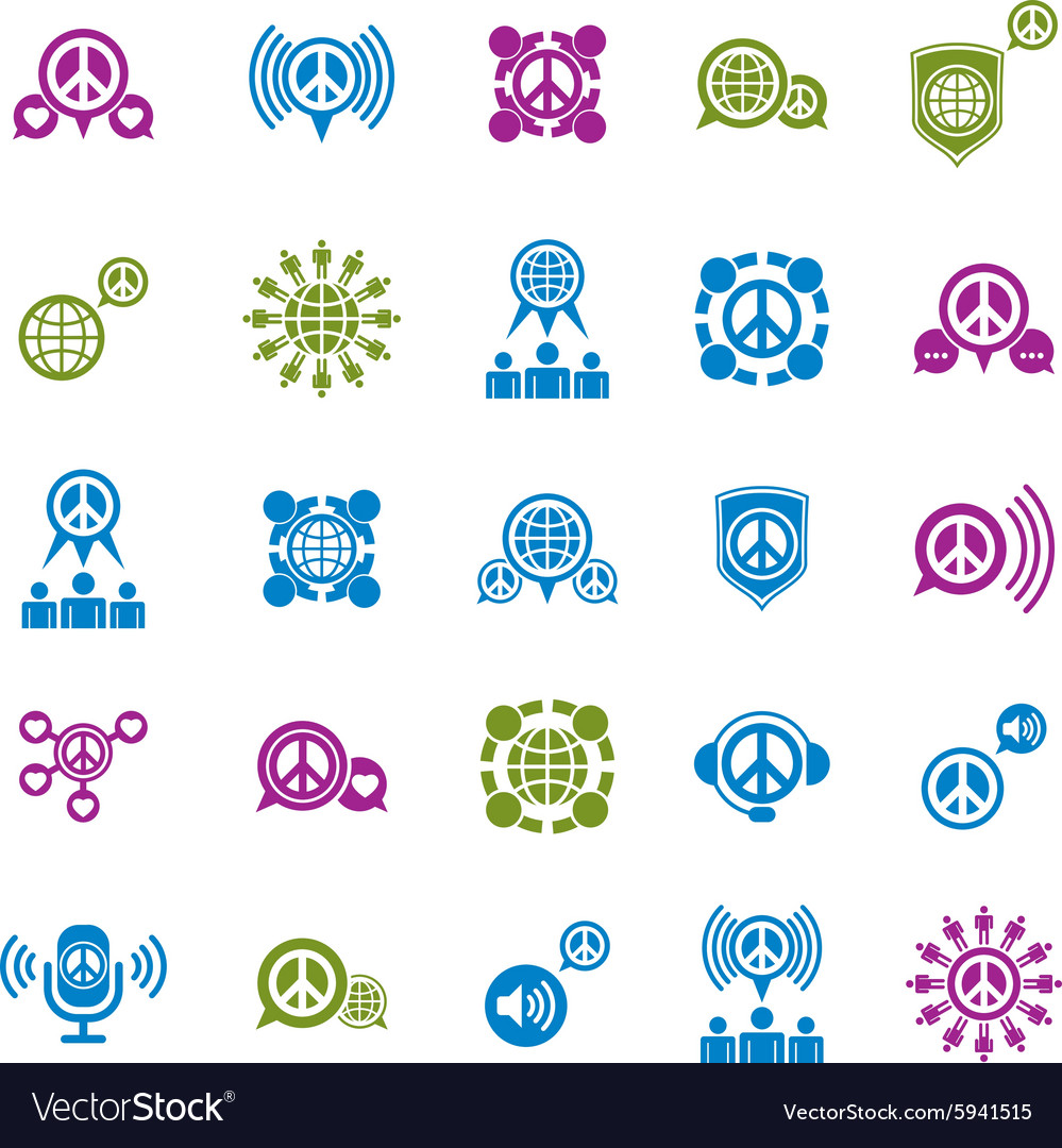 Peace earth and society unusual icons set creative vector