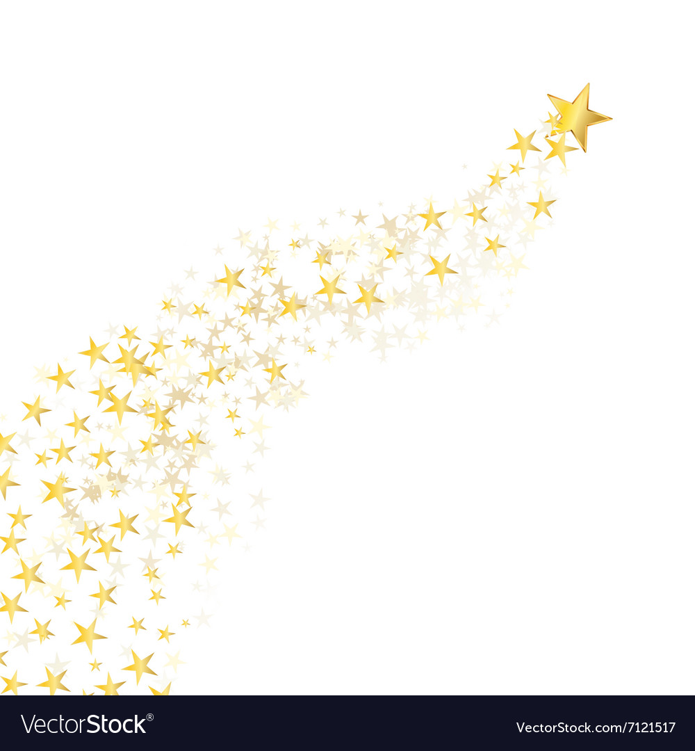 Golden star flowing vector
