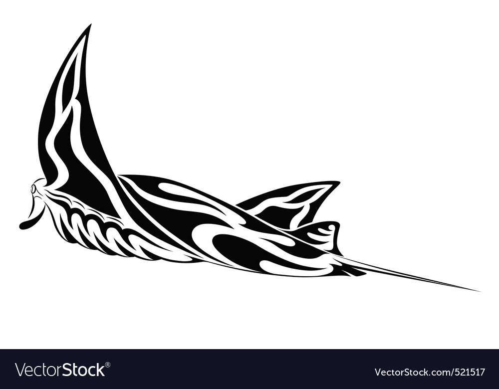 Manta ray tribal tattoo vector