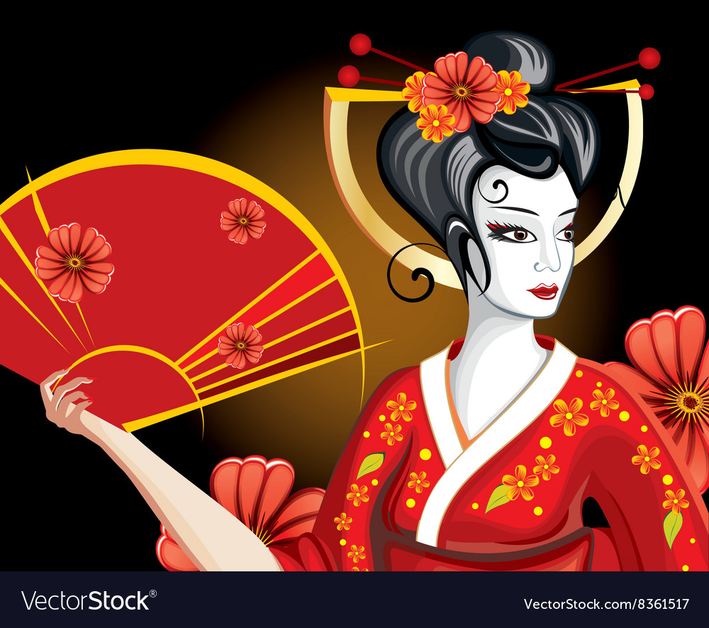 Pretty geisha cartoon vector