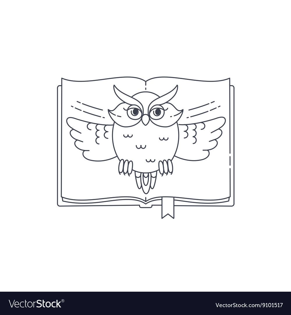 Wise owl opens the book linear vector