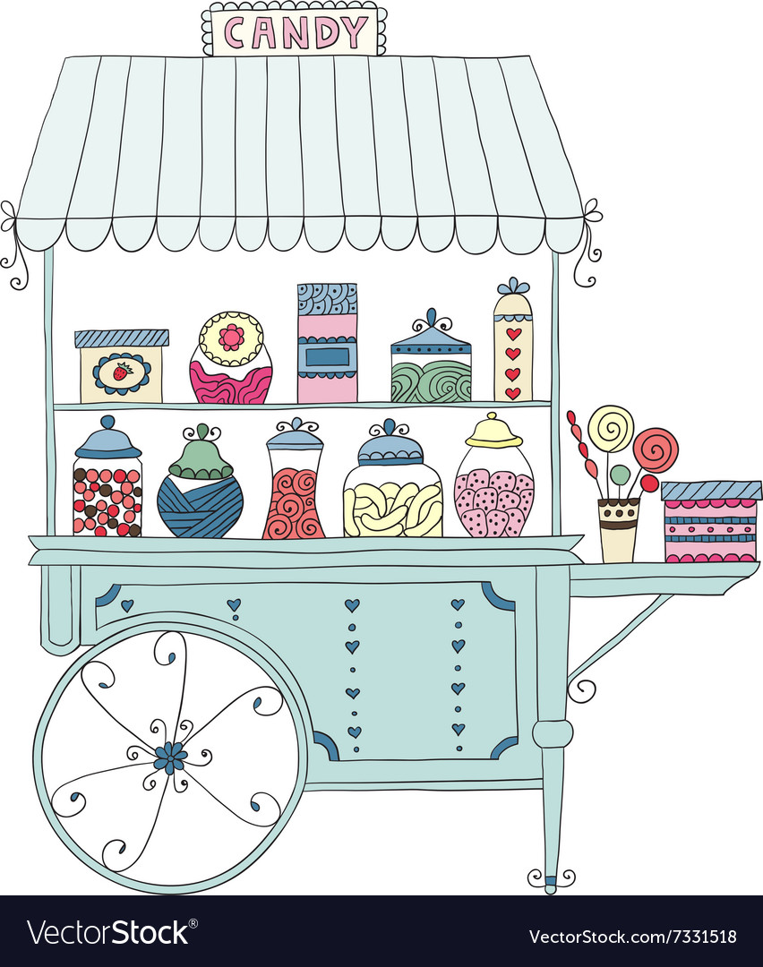 Cart for sale candy vector