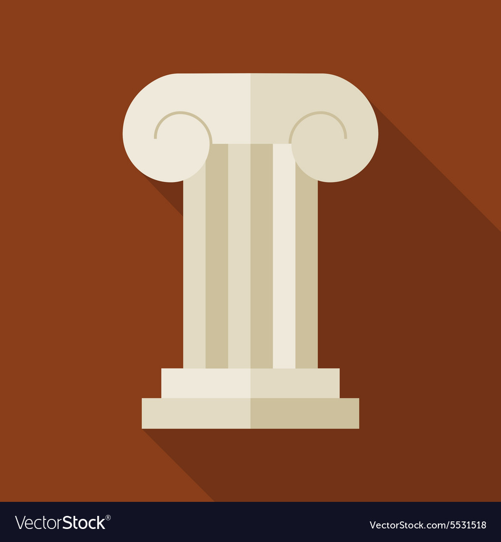 Flat history ancient ionic pillar with long shadow vector