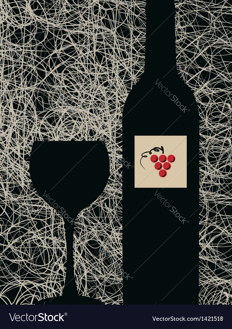 Modern wine glass and bottle menu background vector