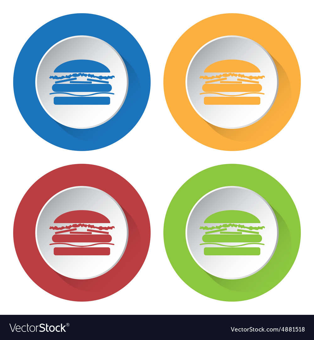 Set of four icons with hamburger vector