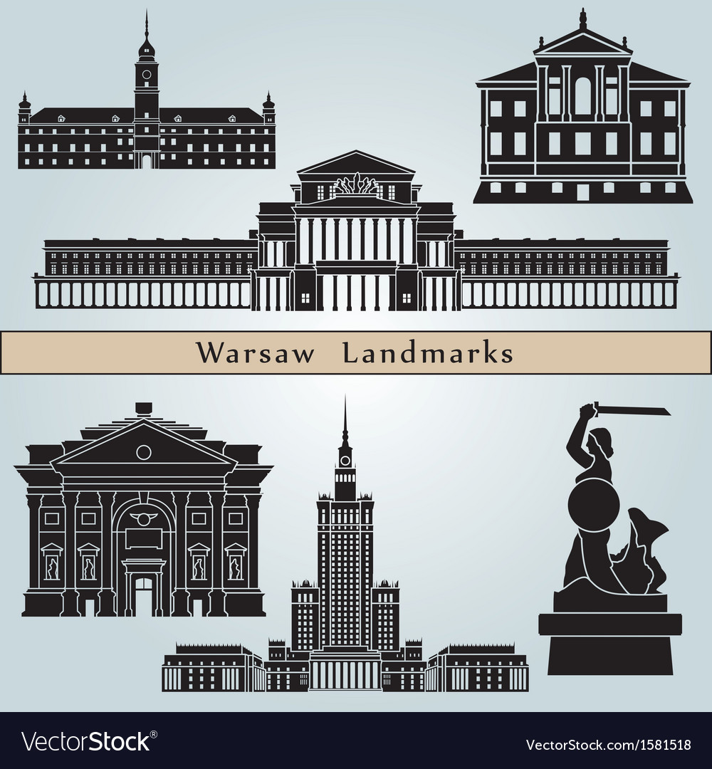 Warsaw landmarks and monuments vector