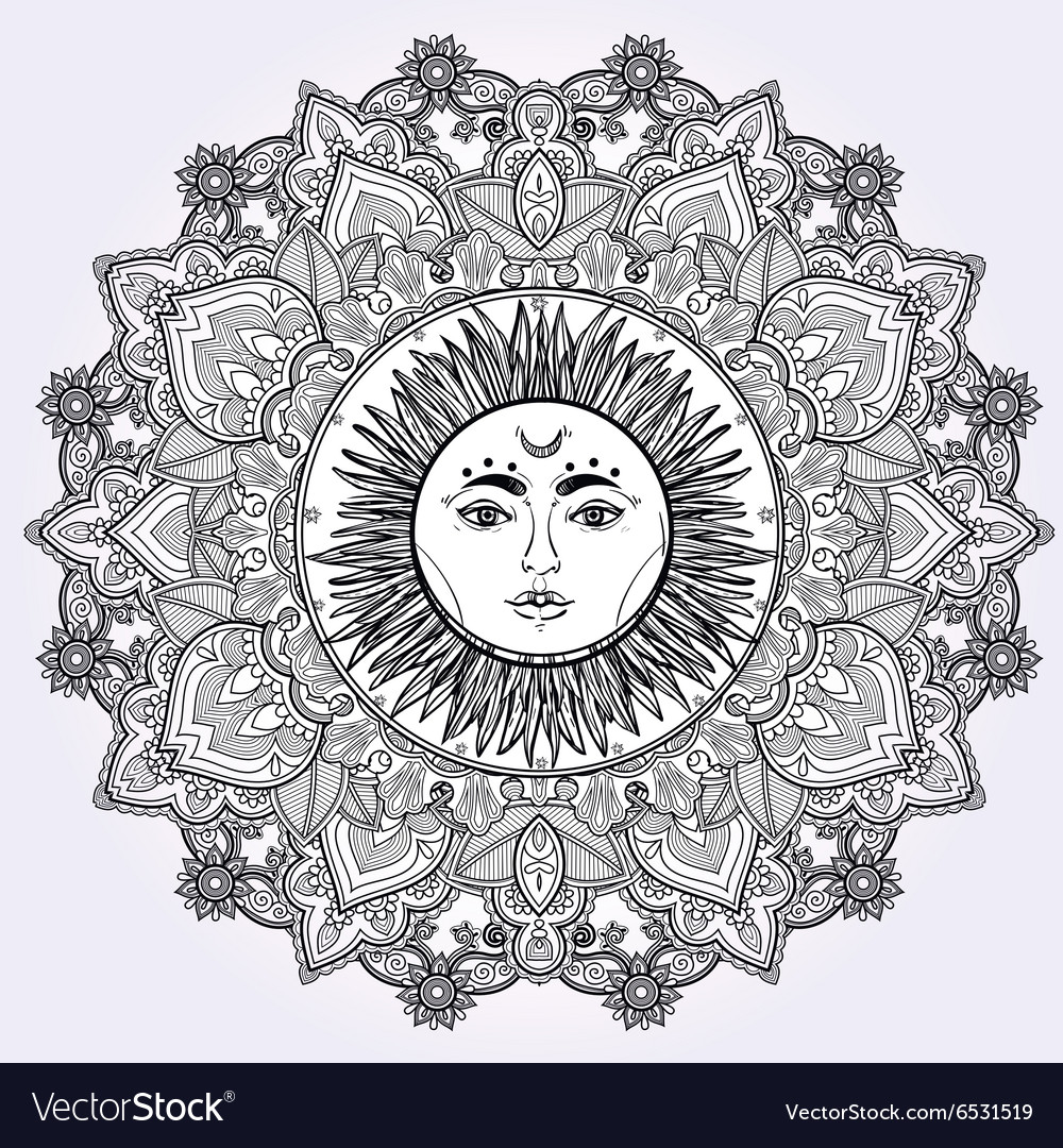 Sun mandala round ornament vector