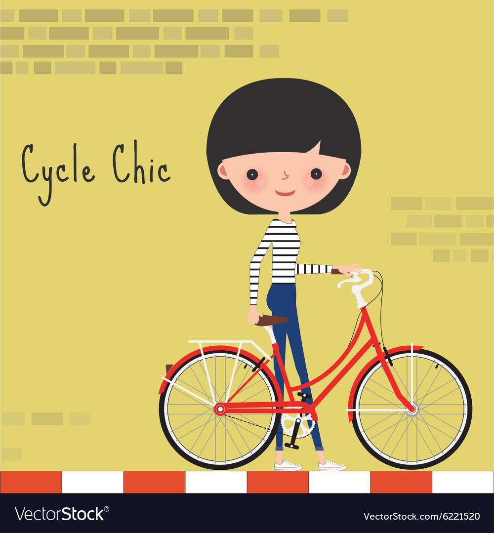 Girl with bicycle in the city vector
