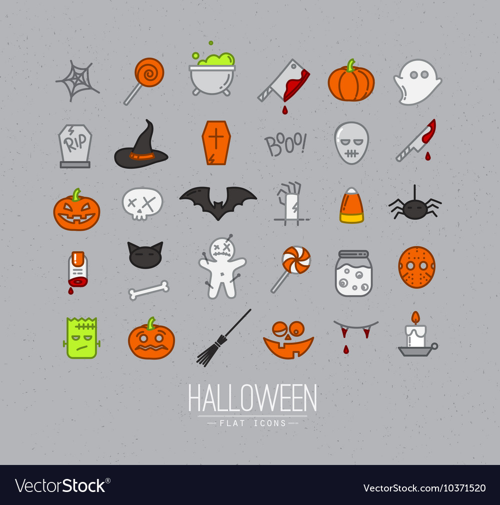 Halloween flat icons grey vector