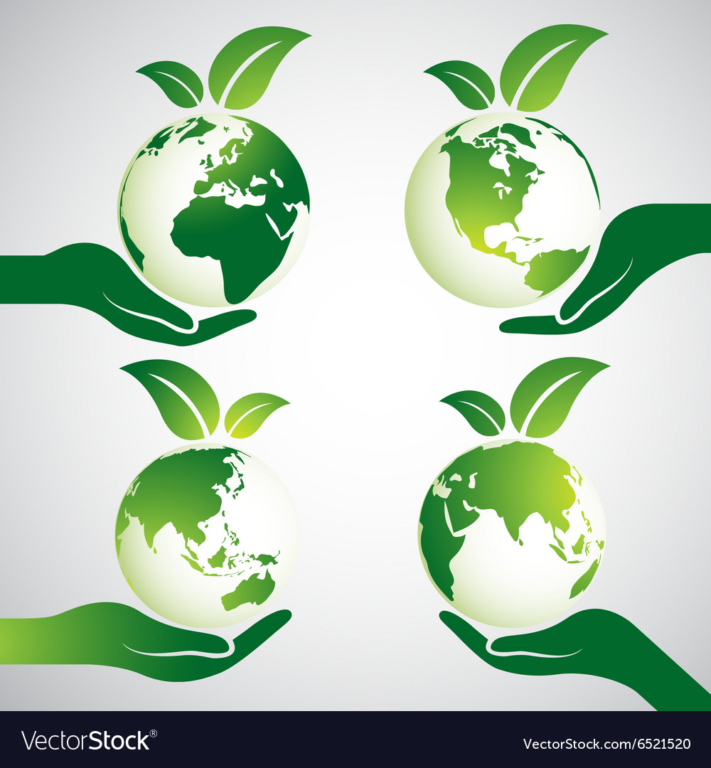 Hand earth 2 vector