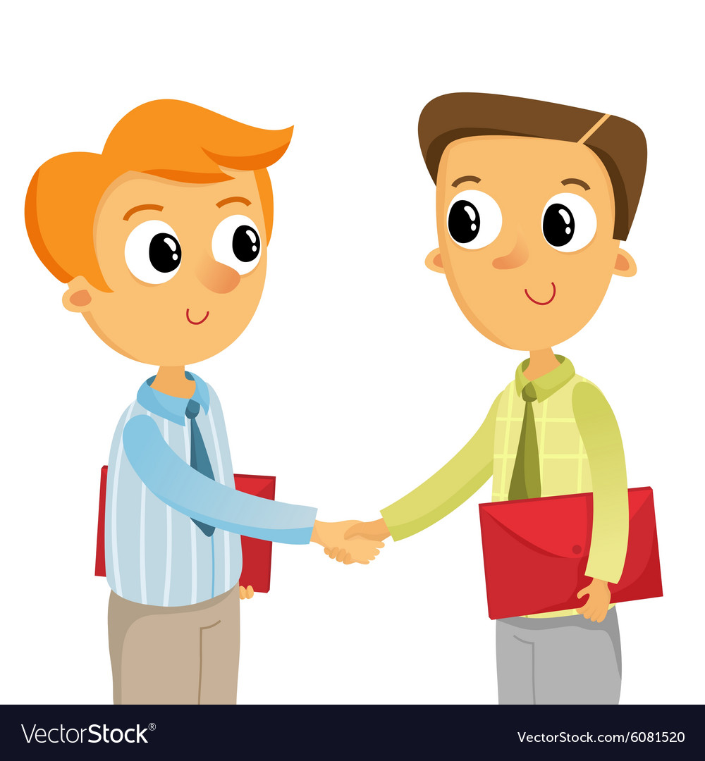 Two young business men shaking hands isolated on vector