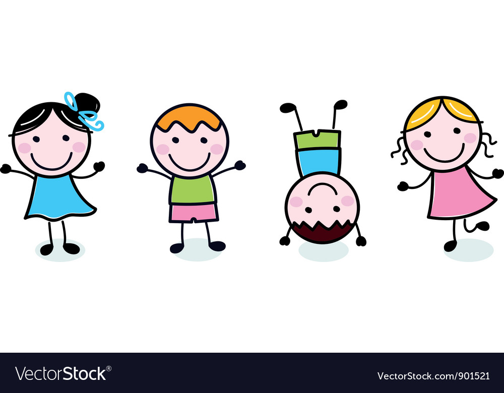 Doodle happy kids group isolated on white vector