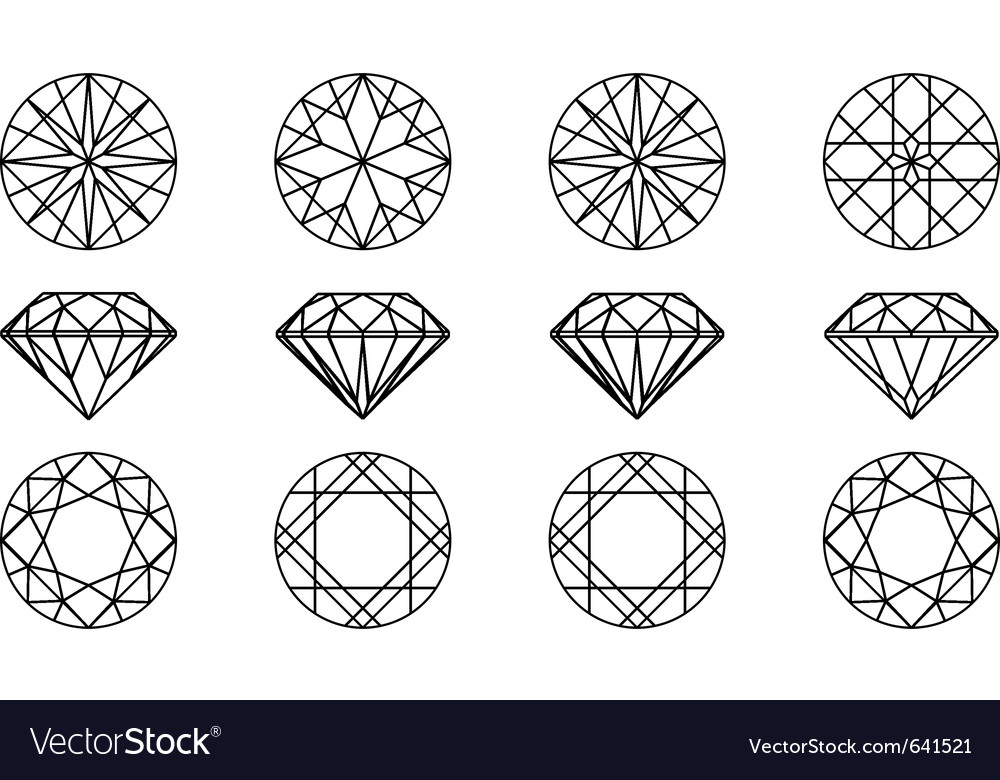 Gemstone wire frame vector