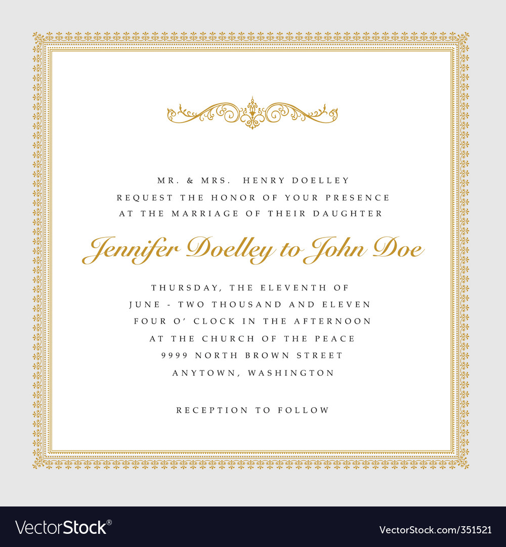 Square gold wedding frame vector