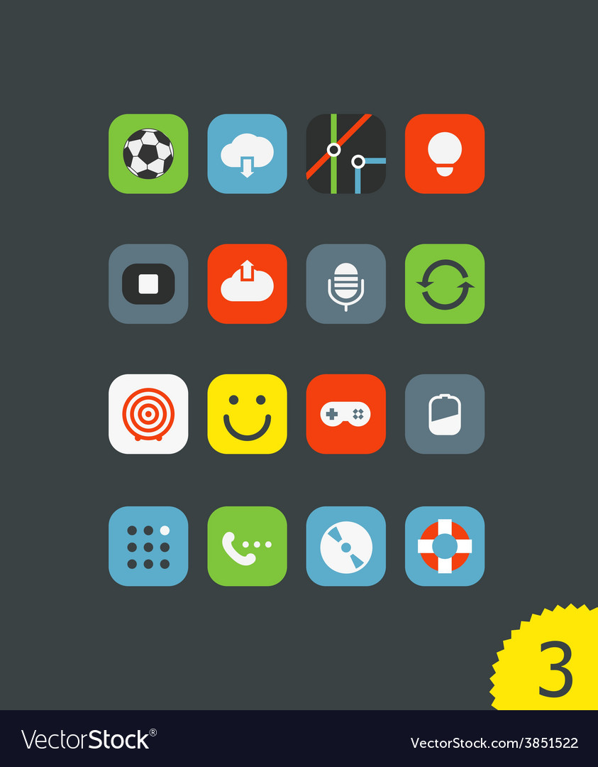 Different mobile application icons vector