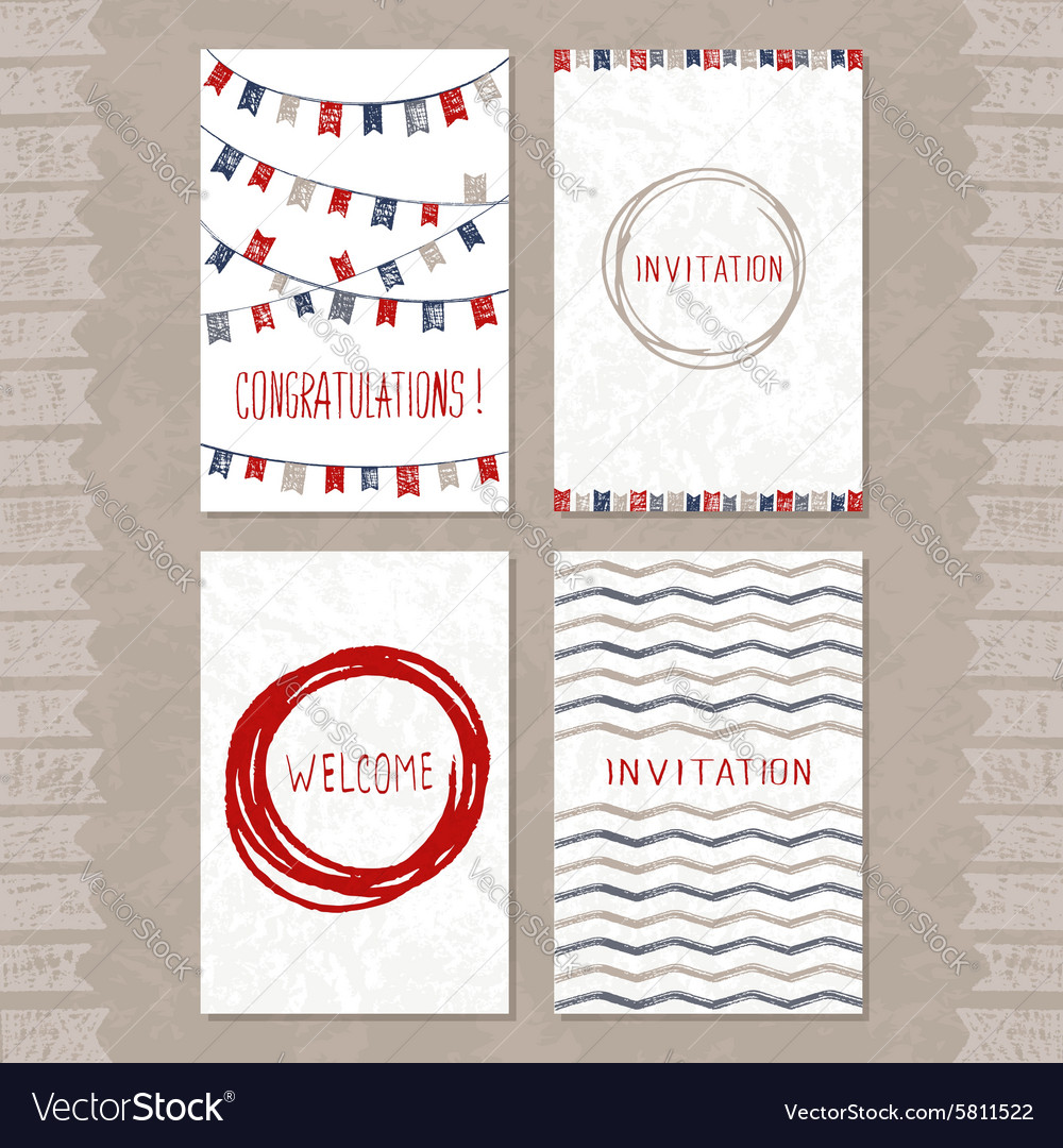 Set of cards with hand drawn sketch elements vector