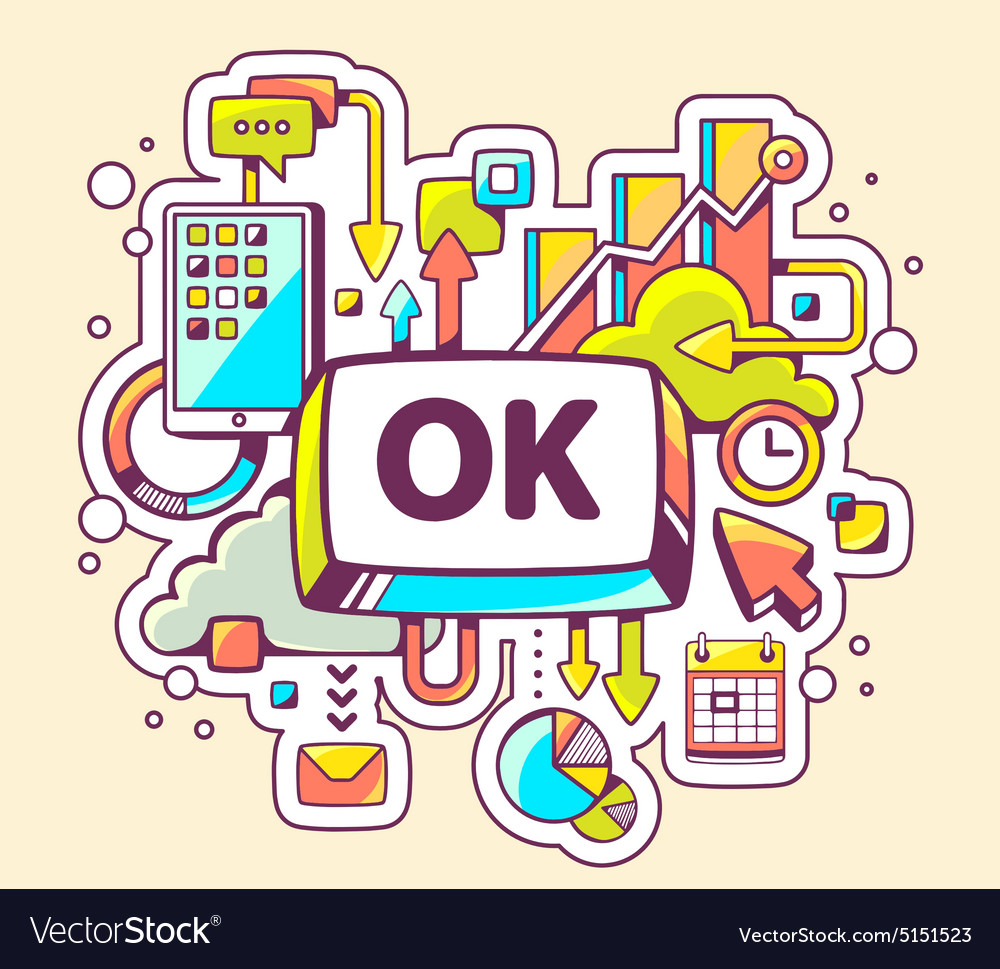 Colorful of business processes and ok button vector