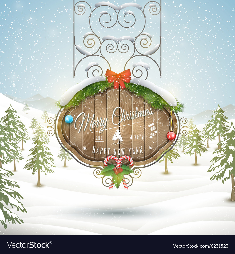Decorated christmas board vector