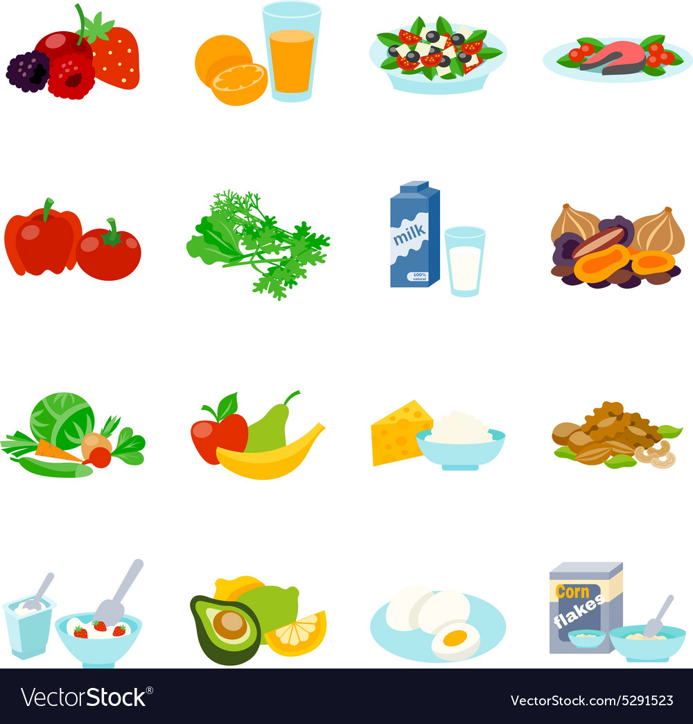 Healthy food flat icons set vector