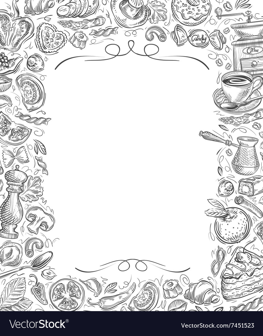 Menu sketches drawn food and drinks on vector