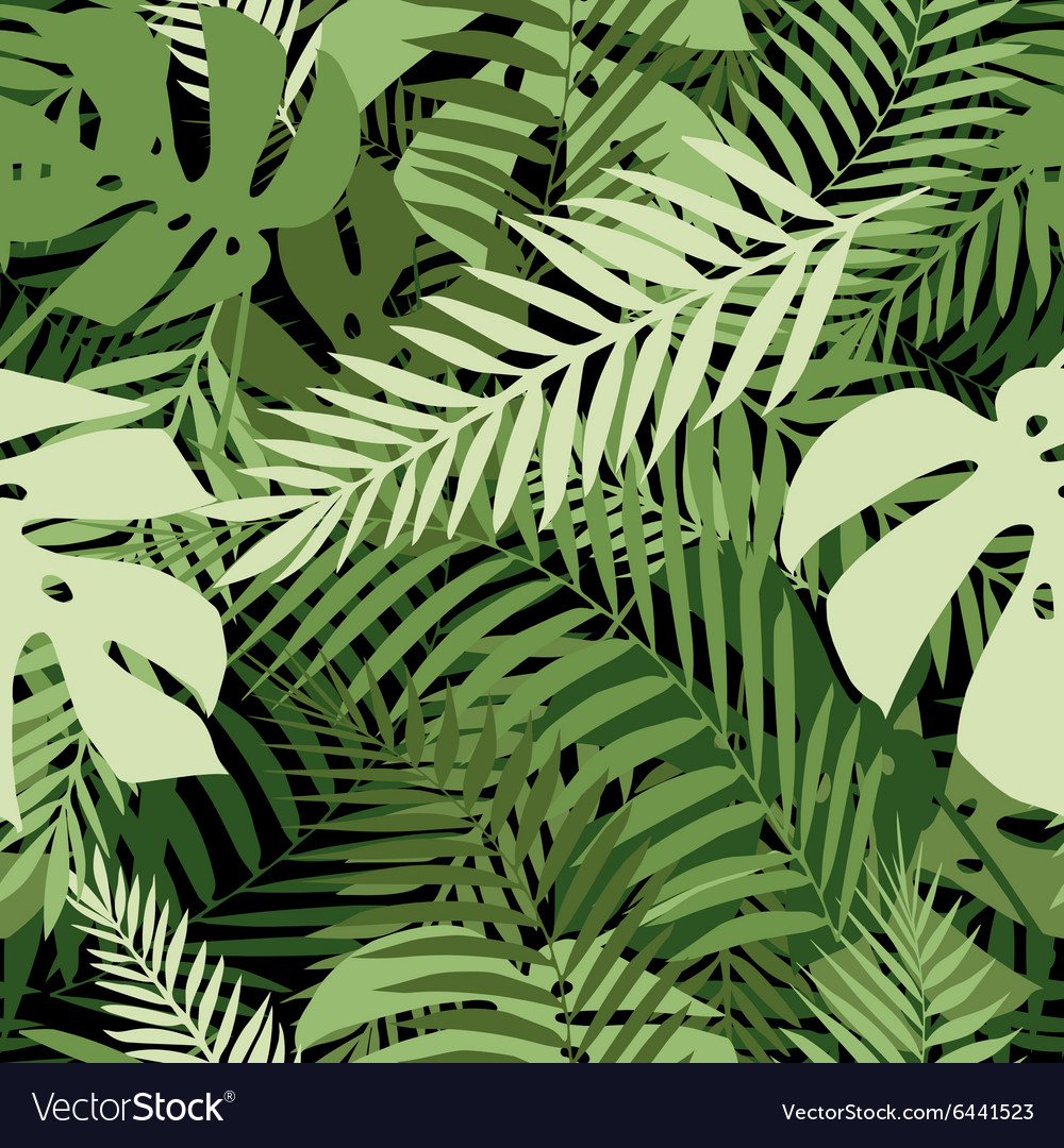Seamless tropical pattern with palm leaves vector