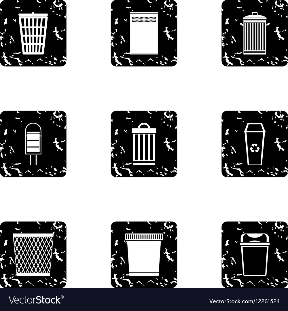 Bin icons set grunge style vector