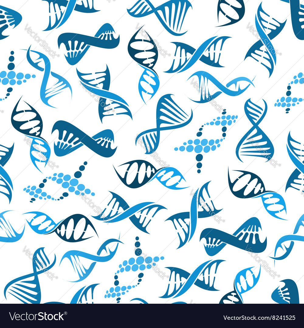 Blue dna elements seamless pattern vector