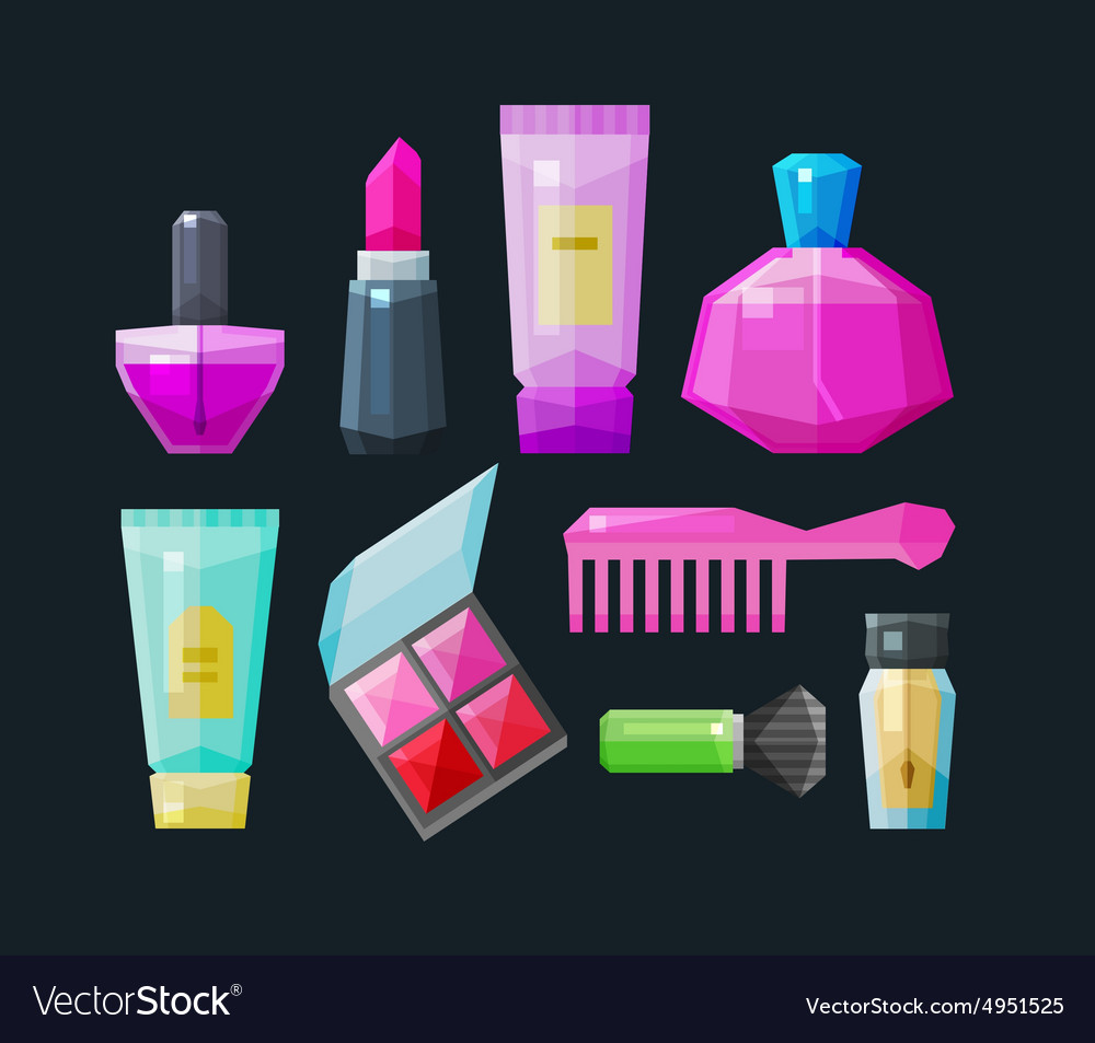 Cosmetic a set of colored icons collection of vector