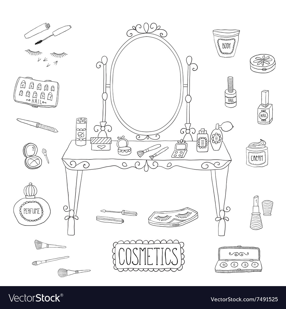 Vanity table with mirror and makeup vector
