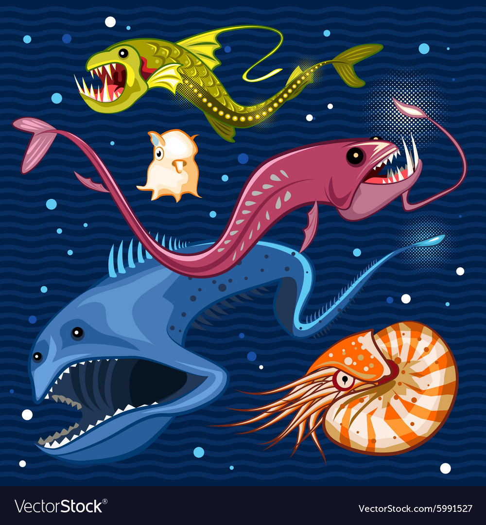 Fish of the deep blue sea collection set 02 vector