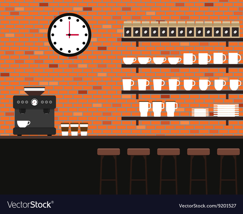 Interior coffee shop brick texture flat design vector