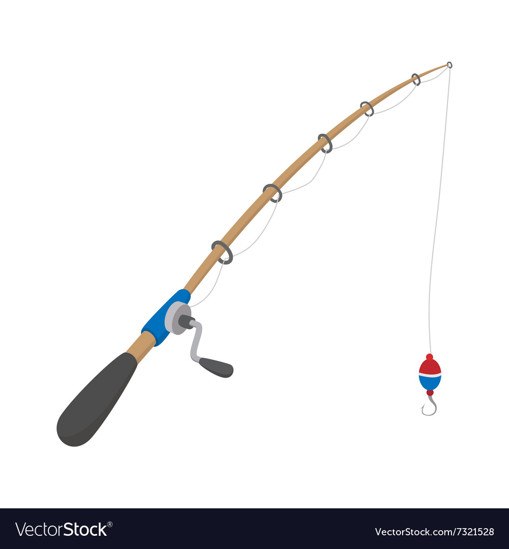 Fishing rod cartoon icon vector
