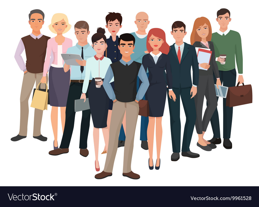 Group of men and women business creative team vector