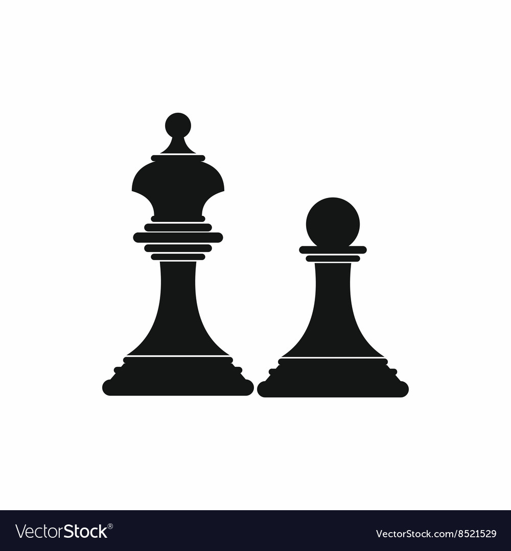 Chess king and chess pawn icon simple style vector