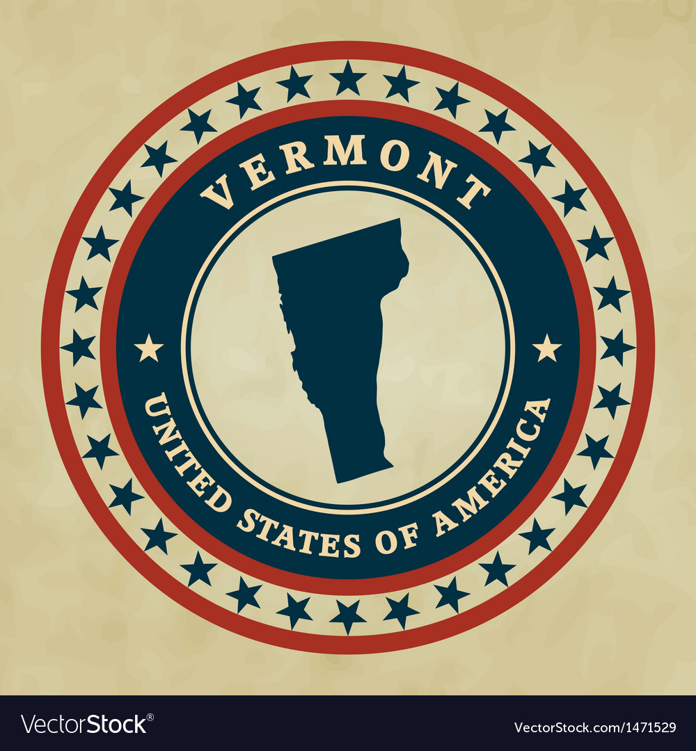 Vintage label vermont vector