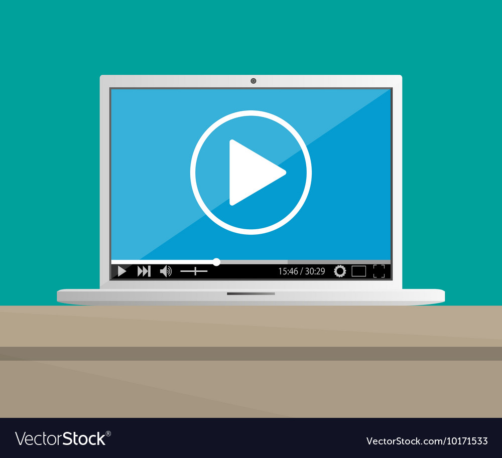 Laptop on desktop with running web video player vector