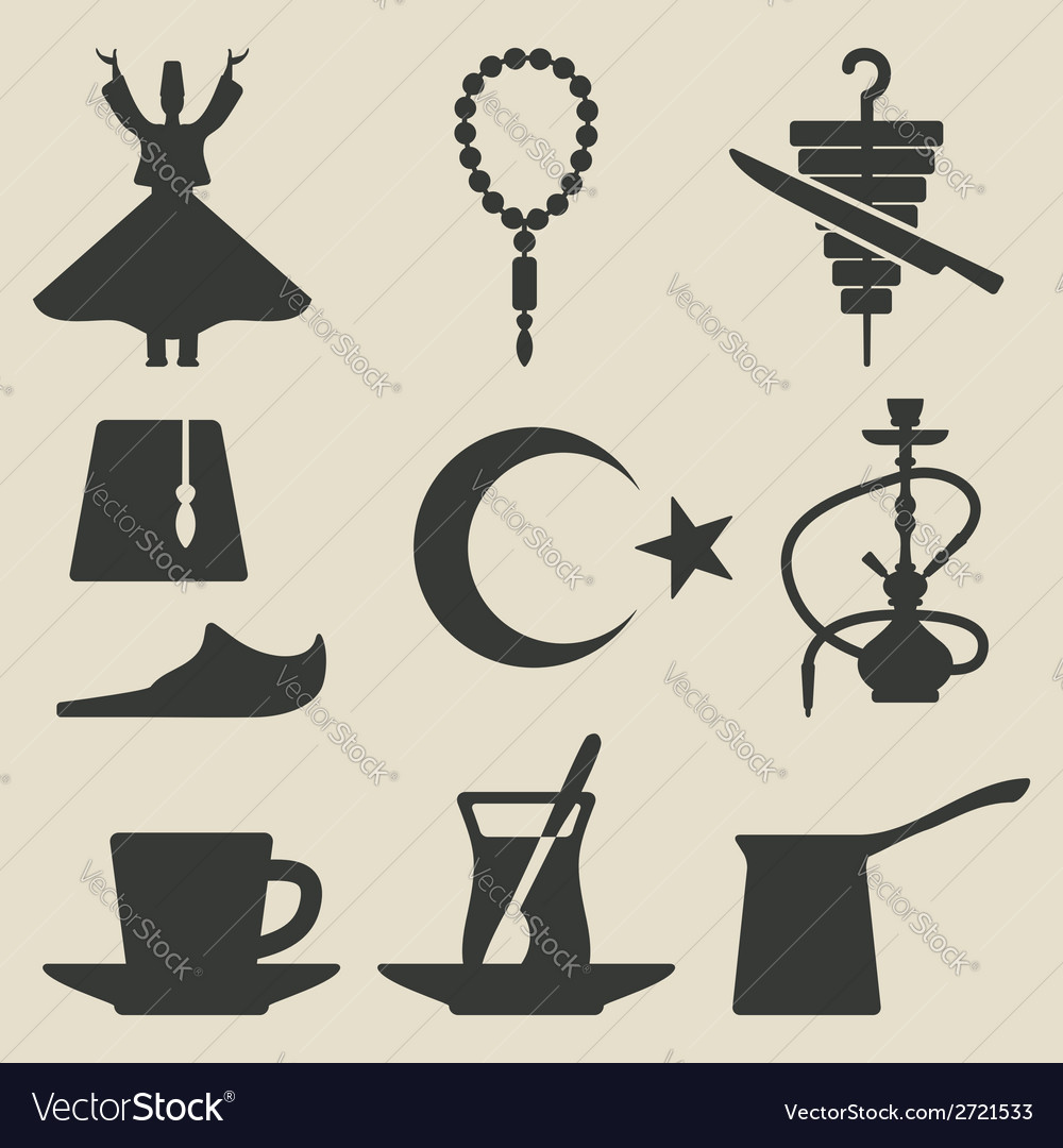 Turkish national icons set vector