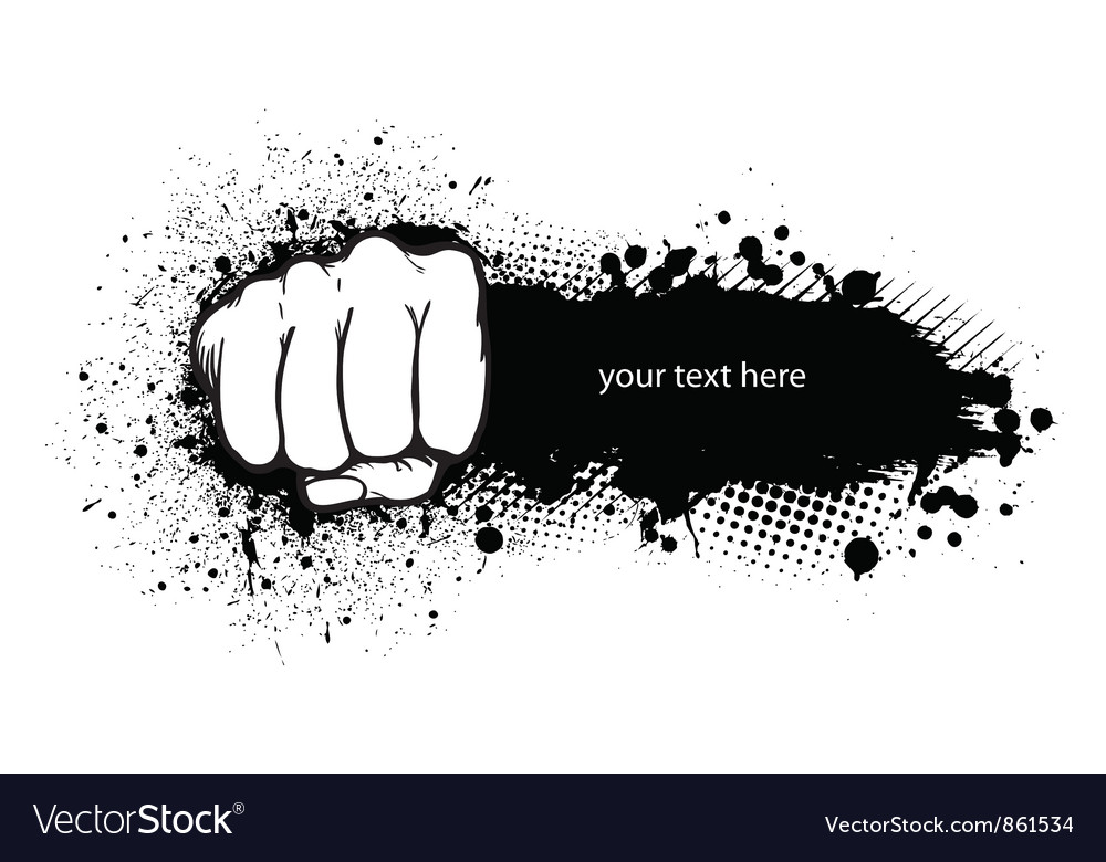Fist with grunge vector