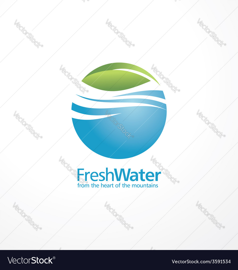 Fresh water and leaf creative logo design template vector