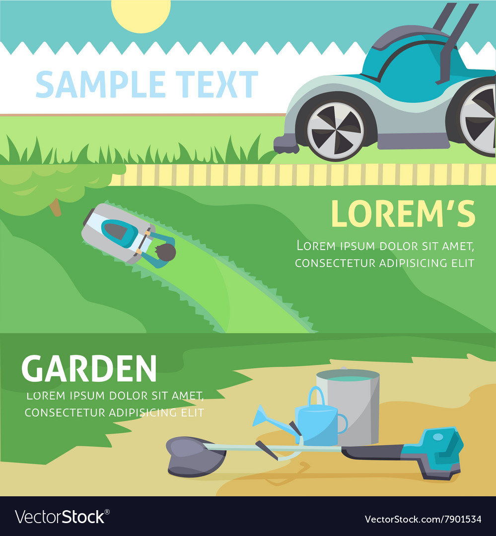 Gardening tools baner set eps 10 vector